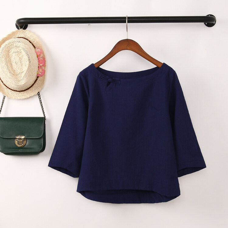 เสื้อเชิ้ตผ้าฝ้ายหลวม bottoming เสื้อหญิงฤดูร้อน (น้ำเงิน)