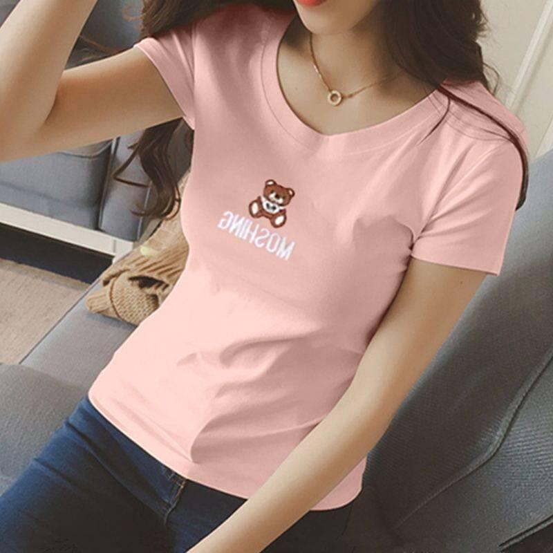 หญิงรอบคอสลิมป่า bottoming เสื้อเสื้อยืด (สีชมพู)