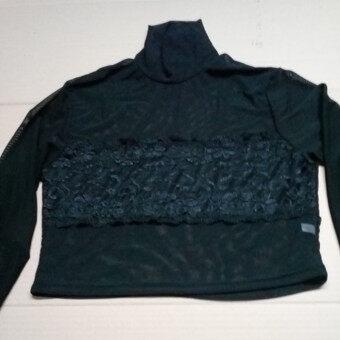 ป่าเส้นด้ายสุทธิโปร่งใสนางสาว bottoming เสื้อ (สีดำ)