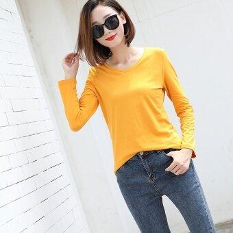 ฤดูใบไม้ร่วงและฤดูหนาวเกาหลีผ้าฝ้ายสีทึบหญิง bottoming เสื้อสีขาวแขนยาวเสื้อยืด (คอวีเจียงหวาง)