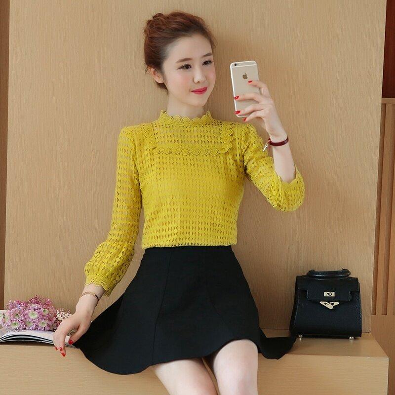 เสื้อชีฟองเกาหลีใหม่ bottoming เสื้อป่าแขนเสื้อ (สีเหลือง)