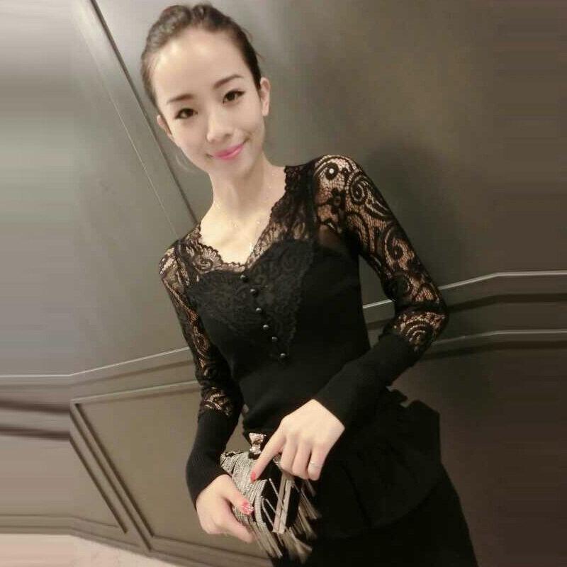 เสื้อยืดสีดำภายในนั่ง bottoming เสื้อเกาหลีถัก (สีดำ 809 รุ่น)
