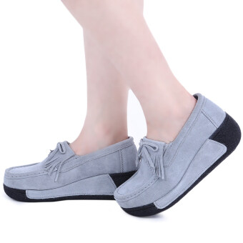 Bowknot Suede Comfortable Wedge Shoes(Gray) - intl