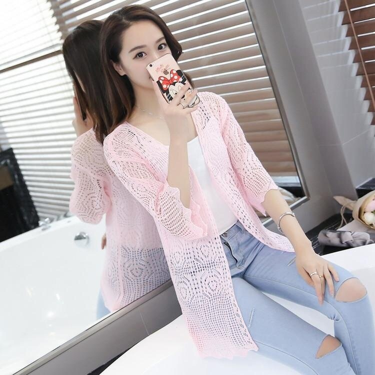 Buy1more Women Ladies Fashion Casual Long Sleeve Vintage Thin Slim Long Beach Cardigans Blouse Tops Outerwear Coat - intl