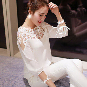 BUYINCOINS Womens Ladies Long Sleeve Loose Chiffon Blouse CasualShirt Lace Tops Elegant - intl