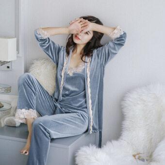 BYL ยอดขายคอ pleuche Three-Piece ชุดนอน loungewear (สีเทา)