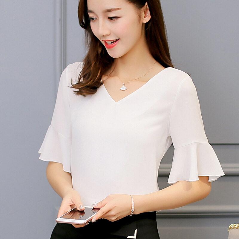 BYL เสื้อชีฟองน่าจดจำสตรี SHORT-แขนเสื้อเชิ๊ตแขนจังแฟชั่นเสื้อเชิ๊ตแขน (สีขาว)