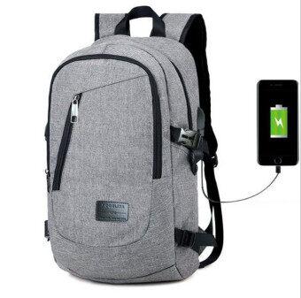 BYL กระเป๋าเป้สะพายหลังแล็ปท็อป with ภายนอกชาร์จ USB Port gablue (สีเทา)
