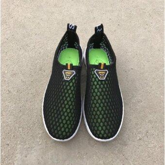 รองเท้าแฟชั่น รองเท้าผ้าใบตาข่ายผู้หญิงเดินออกกำลังกาย รุ่น C18-(สีดำ)