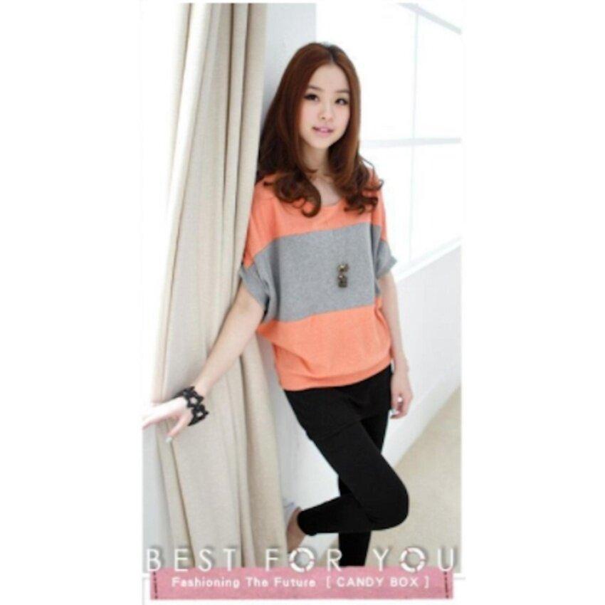 candy it shop เสื้อยืดแขนสั้น แฟชั่นเกาหลี (สีเทา / สีส้ม) รุ่น 5849
