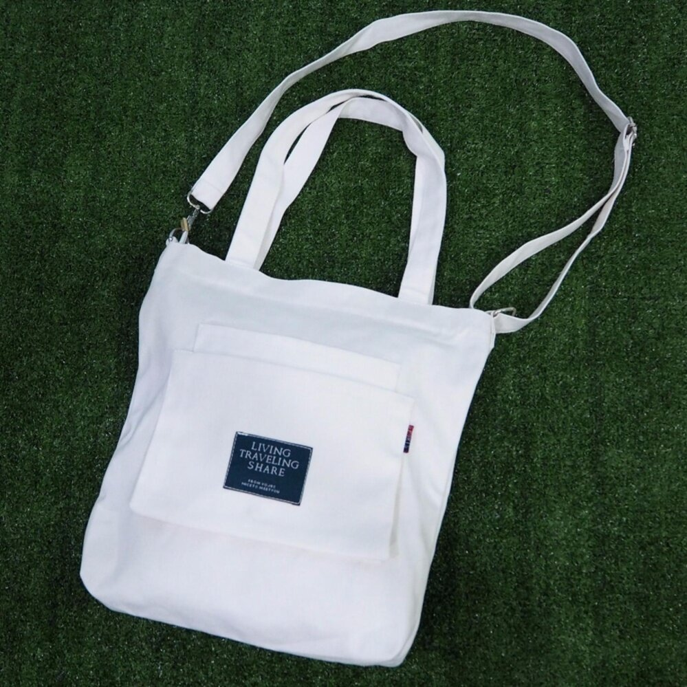 สมุทรปราการ Canvas Bag Living Traveling Share  White