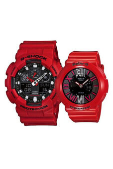 Casio G-Shock and Baby-G Couple Red Resin Strap Watch GA-100B-4A/BGA-160-4B