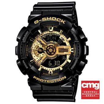 Casio G-Shock นาฬิกาข้อมือผู้ชาย สีดำ/สีทอง สายเรซิ่น รุ่น GA-110GB-1A