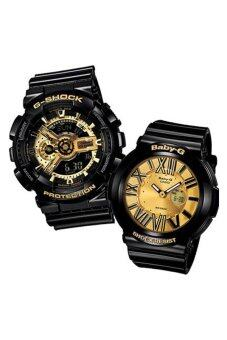 Casio G-Shock GA-110GB-1A and Baby-G Couple BGA-160-1B Resin Strap Watch Black