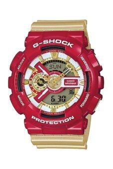 Casio G Shock นาฬิกาข้อมือสุภาพบุรุษ RedGold สายเรซิ่น รุ่นGA 110CS 4 IRON MAN