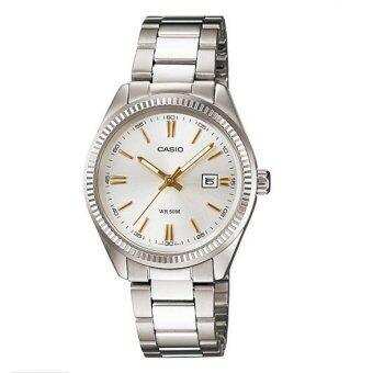 Casio นาฬิกาข้อมือ Lady ขอบหยักร่องสไตล์ Rolex - รุ่นLTP-1302D-7A2V