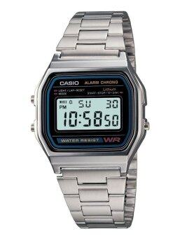 Casio Standard นาฬิกาข้อมือสุภาพบุรุษ ดิจิตอล สายสแตนเลส รุ่น A158WA-1DF – สีเงิน/ดำ
