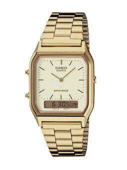 Casio Standard นาฬิกาข้อมือผู้ชาย สายสแตนเลส รุ่น AQ230GA-9D -White/Gold