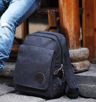 Casual BAG MALE BACKPACK School BAG ผ้าใบกระเป๋า Men BACKPACK (สีดำ)