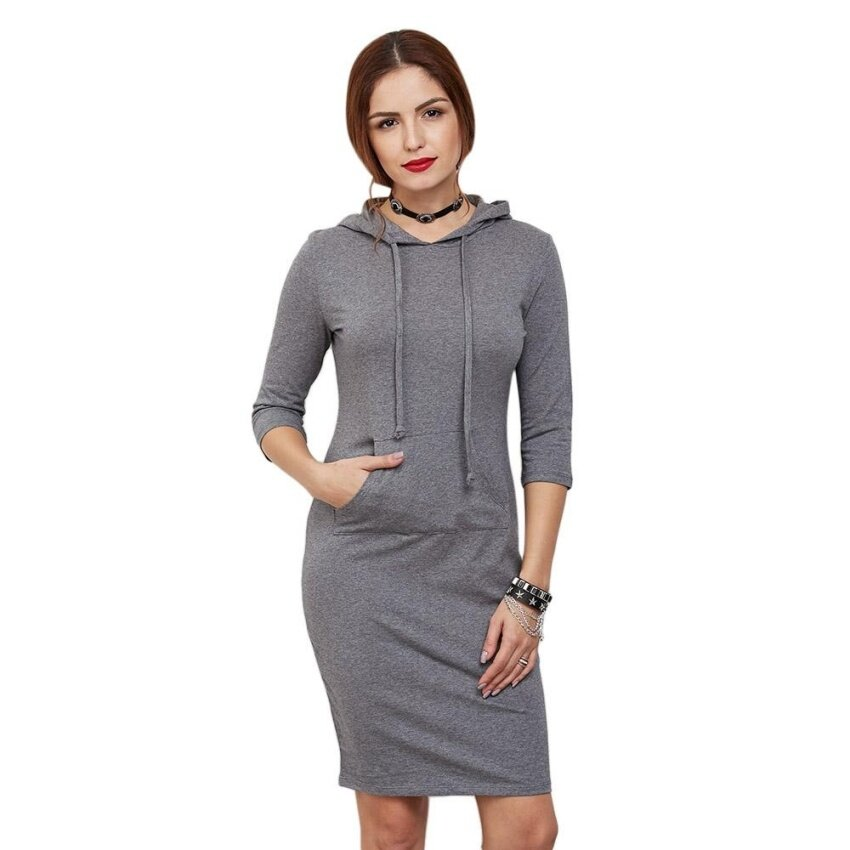 Casual Half Sleeve Pocket Type Pure Color Pullover Hoodie For Women - intl