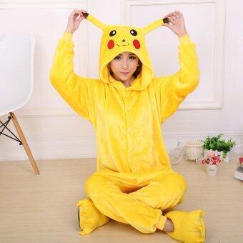 CatWalk Pikachu Adult Unisex Pajamas Cosplay Costume Onesie Sleepwear S-XL (Yellow)