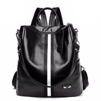 จัดโปรโมชั่น กระเป๋าเป้ กระเป๋าสะพาย กระเป๋าเป้หนังสไตล์เกาหลี No.0245- สีดำ (คาดขาว)
