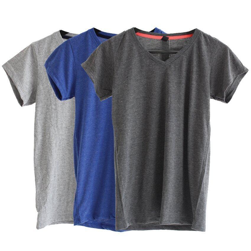 Chahom เซตเสื้อยืดคอวี ( สีเทาดำท็อปดาย,สีน้ำเงินท็อปดาย,สีเทาท็อปดาย) 3 ตัว