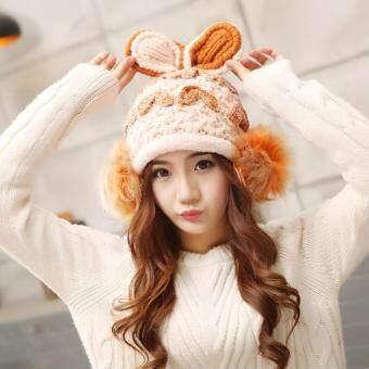 CHANEE Wool Hat Bunny Style หมวกไหมพรมแฟชั่นเกาหลี ทรงกระต่ายบันนี่ (Brown)