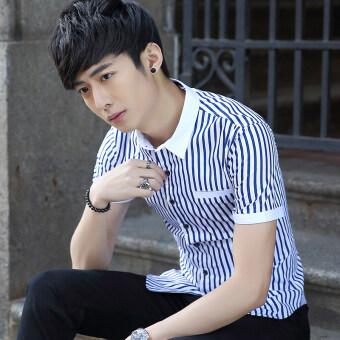 Chaonan ในช่วงฤดูร้อนของผู้ชายปลูกฝังแขนสั้นเสื้อเชิ้ต (สีฟ้าลาย)