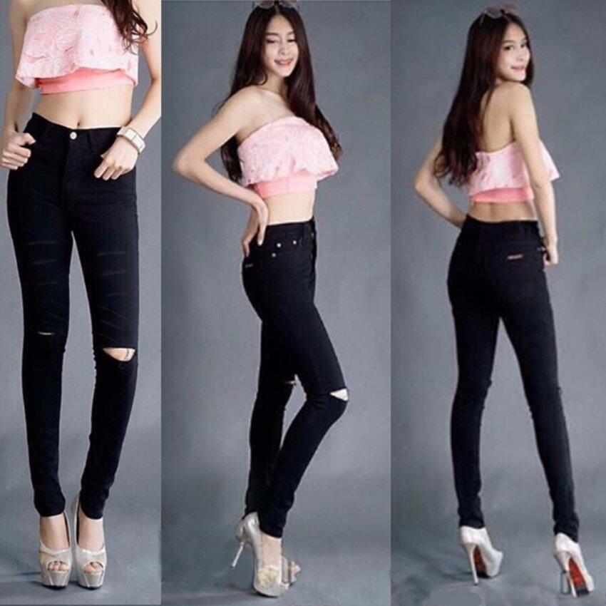 Charming กางเกงยีนส์ยืดขายาว รัดรูป แต่งขาดๆ (สีดำ) รุ่น Y208