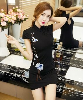 ขั้นตอนเซ็กซี่ฤดูใบไม้ผลิดอกไม้ปักแขนสั้นแพคเกจสะโพกแต่งกายย้อนยุค cheongsam (สีดำ)