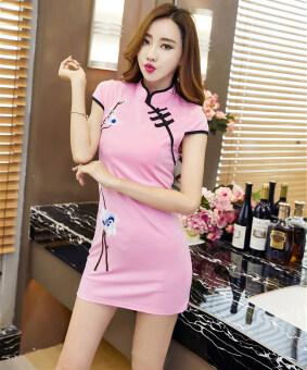 ขั้นตอนเซ็กซี่ฤดูใบไม้ผลิดอกไม้ปักแขนสั้นแพคเกจสะโพกแต่งกายย้อนยุค cheongsam (สีชมพู)