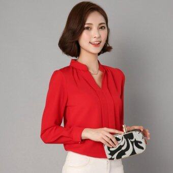 Chiffon Blouse Women Autumn 2017 Long Sleeve Ladies Office ShirtsKorean Fashion Casual Slim Women Tops (Red) - intl