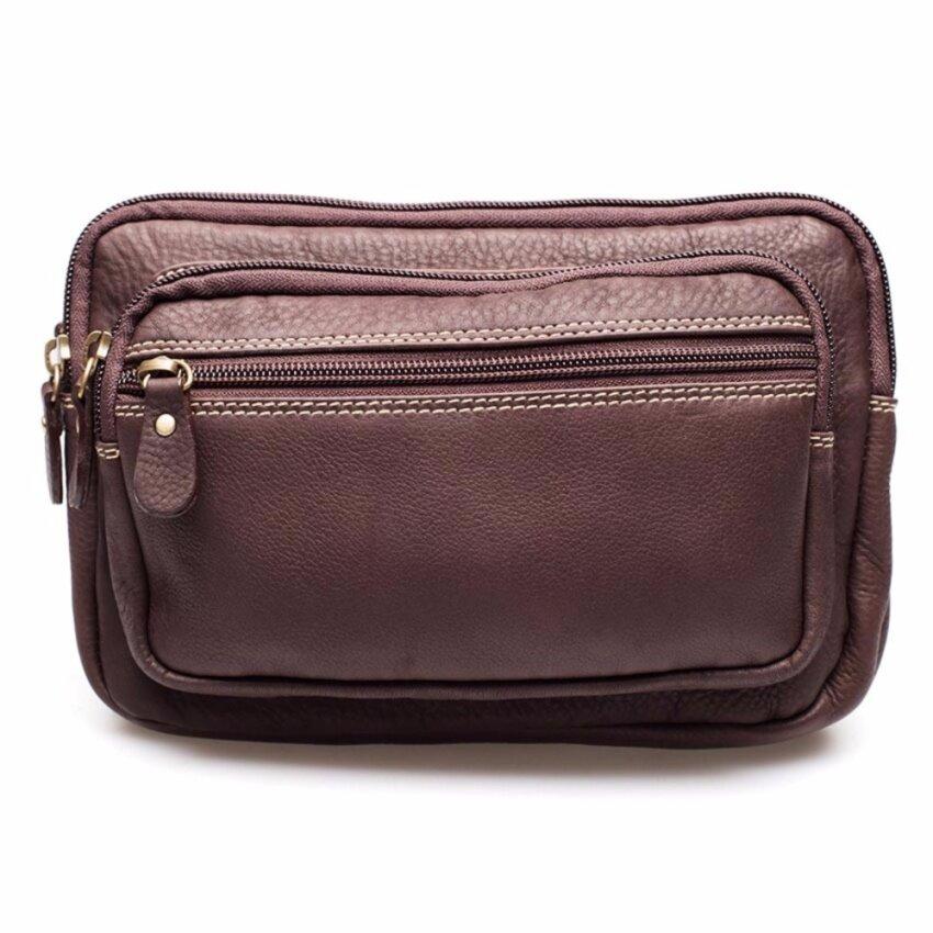 Chinatown Leatherกระเป๋าหนังวัวแท้สะพายหน้าอกหรือคาดเอวสีน้ำตาล