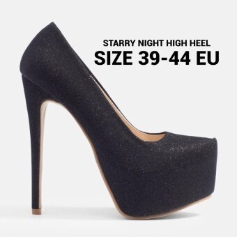 Chowy รองเท้าส้นสูง 6 นิ้ว ไซส์ใหญ่ กลิตเตอร์รุ่น KR0023 ( สีดำ )