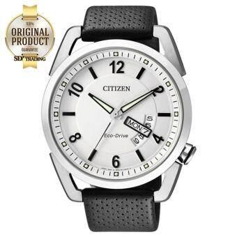 2561 CITIZEN นาฬิกาข้อมือผู้ชาย Eco-Drive พลังงานแสง รุ่น AW0010-01A - Silver/White สายหนังแท้ สีดำ