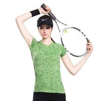 CK Sports T-Shirt เสื้อยืดออกกำลังกาย สำหรับผู้หญิง เล่นฟิตเนส โยคะออกกำลังกายกลางแจ้ง สีเขียว