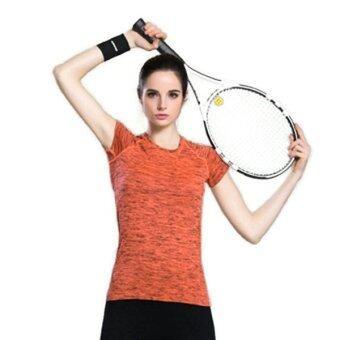 CK Sports T-Shirt เสื้อยืดออกกำลังกาย สำหรับผู้หญิง เล่นฟิตเนส โยคะออกกำลังกายกลางแจ้ง สีส้ม