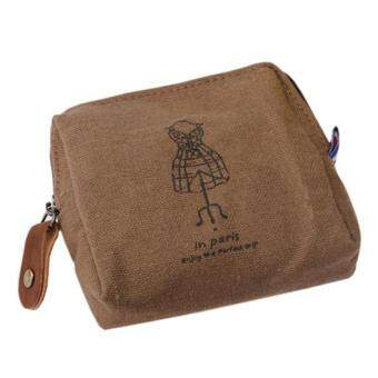 Classic Retro Canvas Purse Wallet Card Key Coin Bag Pouch CaseBrown - intl