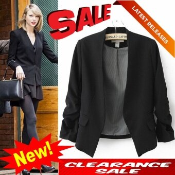 ***CLEARANCE*** New Blazer Women Suit Blazer Foldable Brand Jacket Made Of Cotton & Spandex With Lining XL(black) - intl
