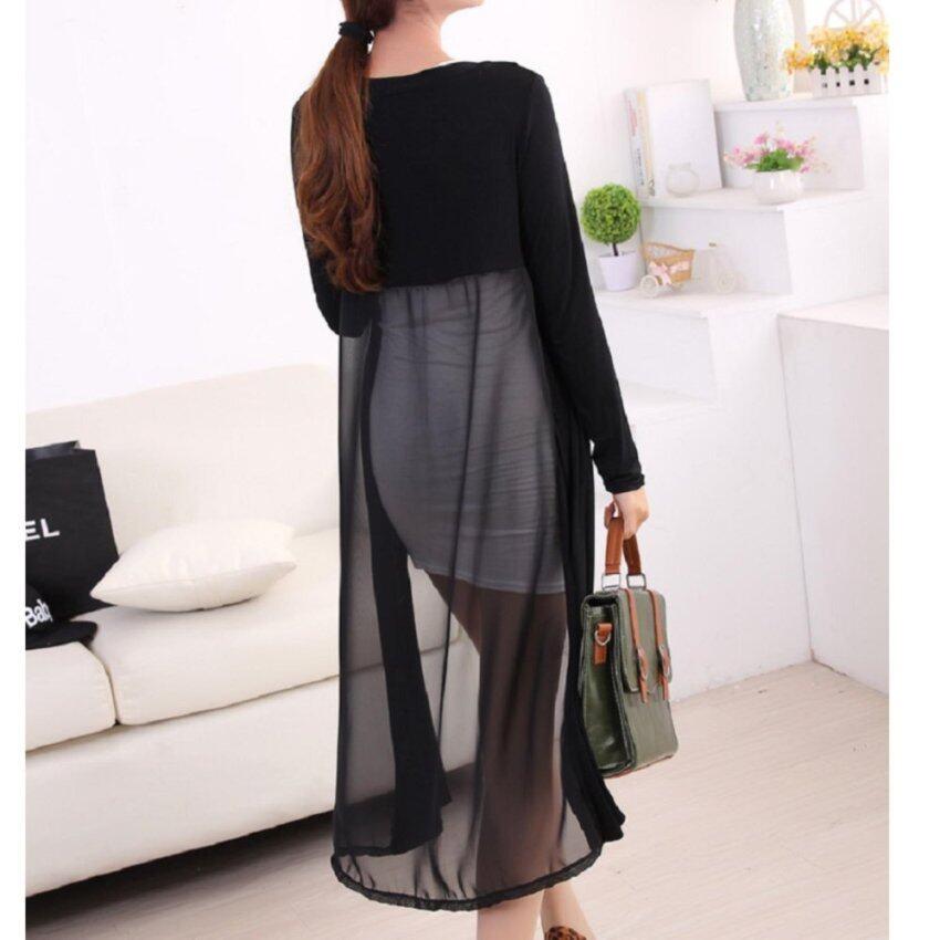 Clothes เสื้อคลุมแฟชั่นตัวยาว แนวเกาหลี (สีดำ) รุ่น 5036