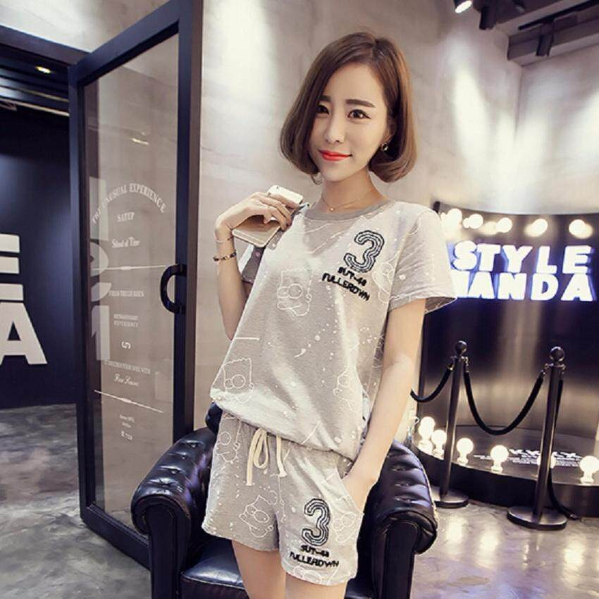 Clothes Fashion ชุดเซ็ทเสื้อกางเกงขาสั้น รุ่น 5008 (สีเทา)