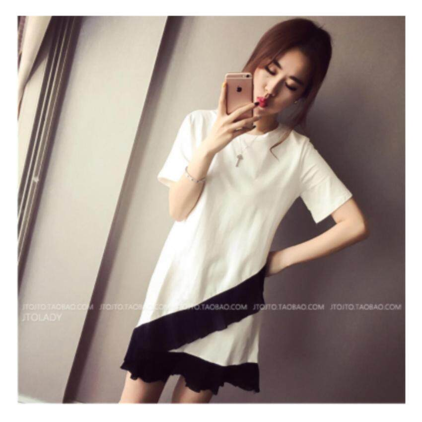 Clothes Fashion  T-shirt female lotus leaf stitching women's loose dress female B01(white)