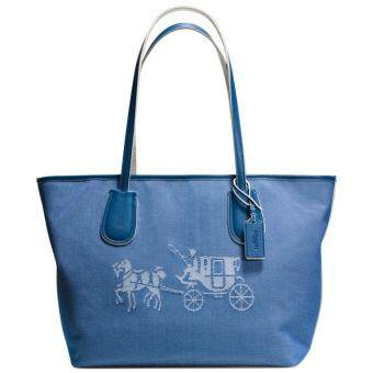 COACH 35337 EMBOSSED HORSE AND CARRIAGE TAXI ZIP TOTE IN CANVASDENIM