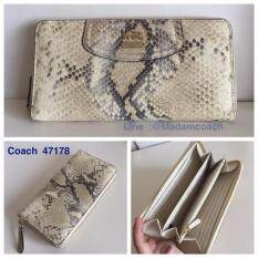 Coach 47178 Madison Metallic Python Embossed Leather Zip Around Wallet