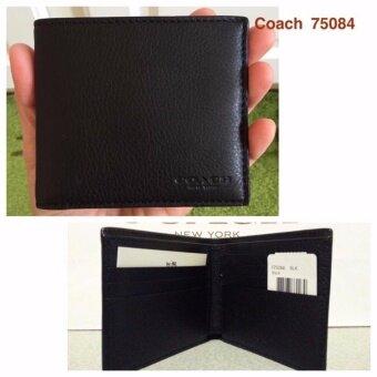 Coach 75084 Double Billfold Sport Calf Leather Wallet Black