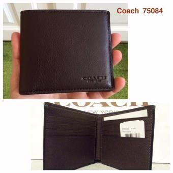 จัดโปรโมชั่น Coach 75084 Double Billfold Sport Calf Leather Wallet Mahogany