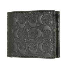 COACH 75371 COMPACT ID WALLET IN SIGNATURE CROSSGRAIN LEATHER Black