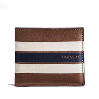 COACH กระเป๋าสตางค์ DOUBLE BILLFOLD WALLET IN VARSITY LEATHERF58349 (DARK SADDLE)