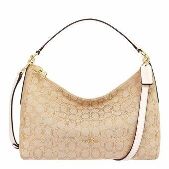 เปรียบเทียบราคา COACH กระเป๋า EAST/WEST CELESTE CONVERTIBLE HOBO IN OUTLINE SIGNATURE F58284 IMDQC (IM/LIGHT KHAKI/CHALK)